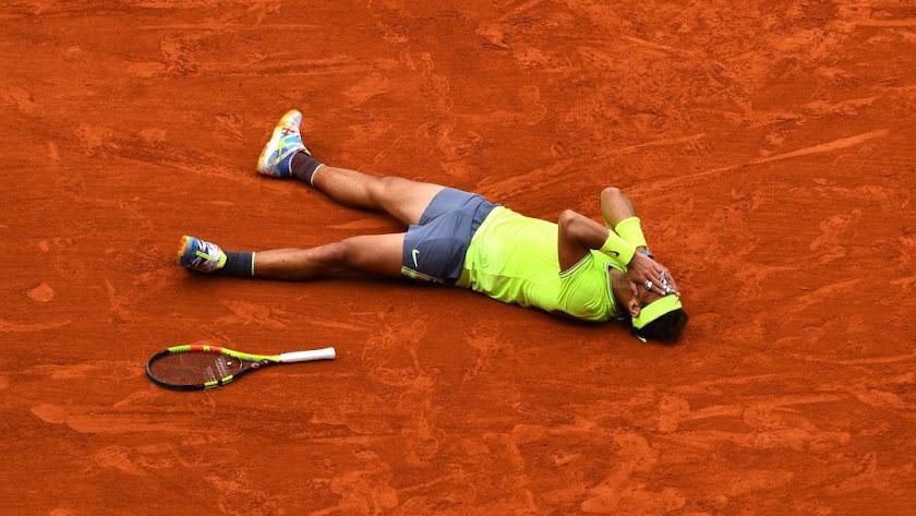 Rafa Nadal tras ganar el partido.