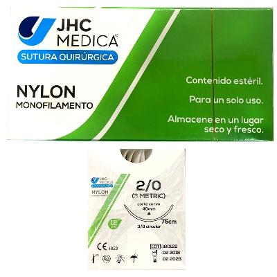 sutura nylon 2.0 aguja circular jhc