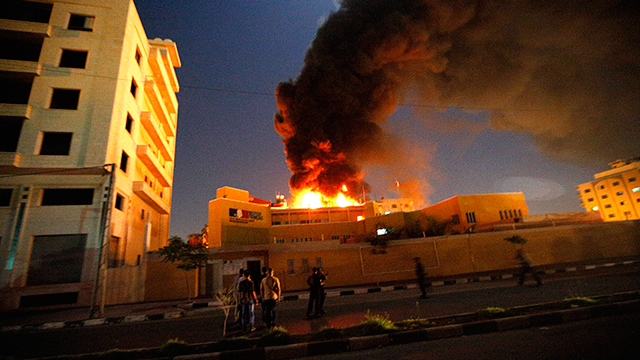 Explosion at French Cultural Center in Gaza (Photo: EPA)