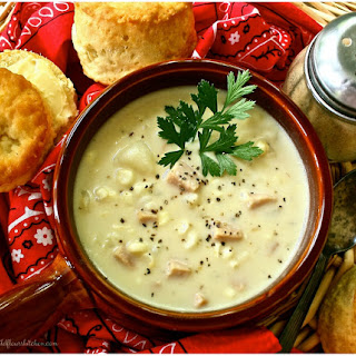 Cheesy Fresh Corn Chowder with Ham, Potatoes & Cabbage Recipe