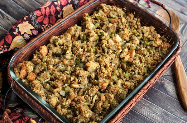 A Baking Dish Of My Mom's Perfect Thanksgiving Stuffing.