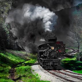 Steam Power by Chuck  Gordon  - Transportation Trains ( cass, shay, railroad, train, steam )