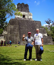 Photo: Victor and Rodney at one temple in Tikal.