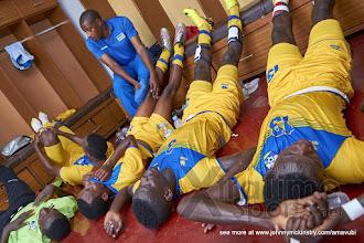 Photo: Rwanda Players in the dressing room at half time [Rwanda v Mauritius, AFCON 2017 Qualifier, 29 March 2016 in Kigali, Rwanda.  Photo © Darren McKinstry 2016, www.XtraTimeSports.net]