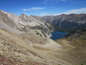 Photo: Views down to Snowmass Lake, our second camp.