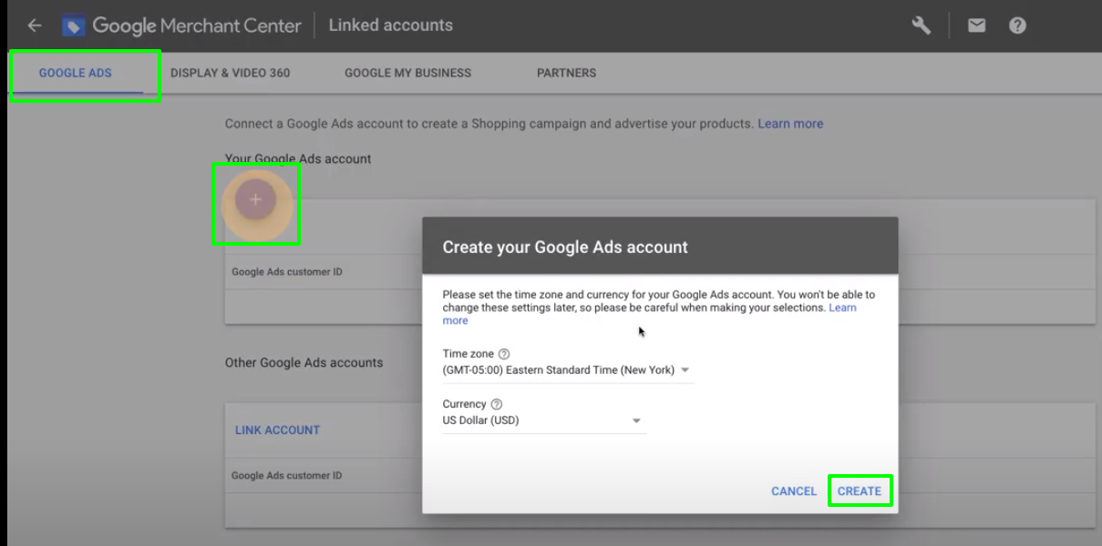 Create google ads account
