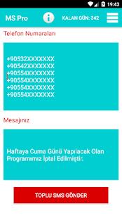 Mass SMS - náhled