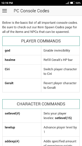 Download Cheat Codes for WITCHER 3 Game Google Play softwares