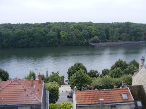 Photo: Here's the first of three views from the Tower, looking straight out to the Seine.