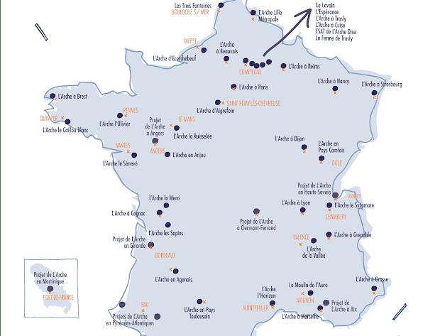 Carte des communautés de L'Arche en France