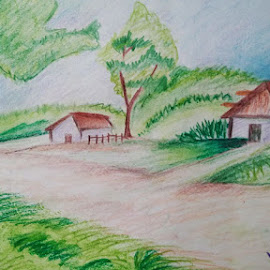 landscape painting by VP SINGH by Vp Singh - Drawing All Drawing