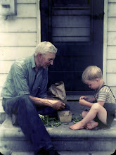 Photo: Shelling peas with my grandfather on the back step. Summer of 1945 or 1946
