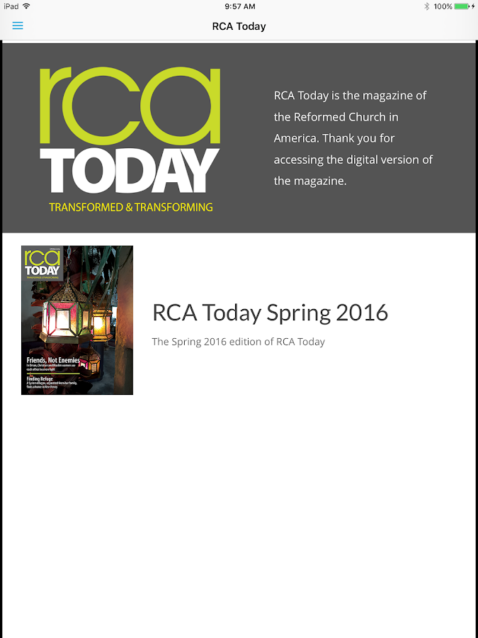 RCA Today- screenshot