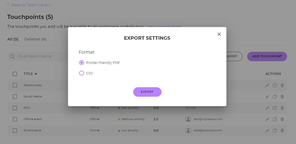 touchpoints library export