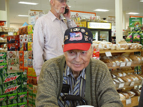 Photo: Gorden and Martha fick, set up lunch for us at Glen's Country Store where of group of veterans known as the Last Man club, meet almost daily for lunch.  Originally there where 24 men in the group. There are 9 remaining. The last man, gets the bottle of bourbon, in the center of the display. Meeting us for lunch were Warren, Bob, and Jake.  Bob, one of the Last Men