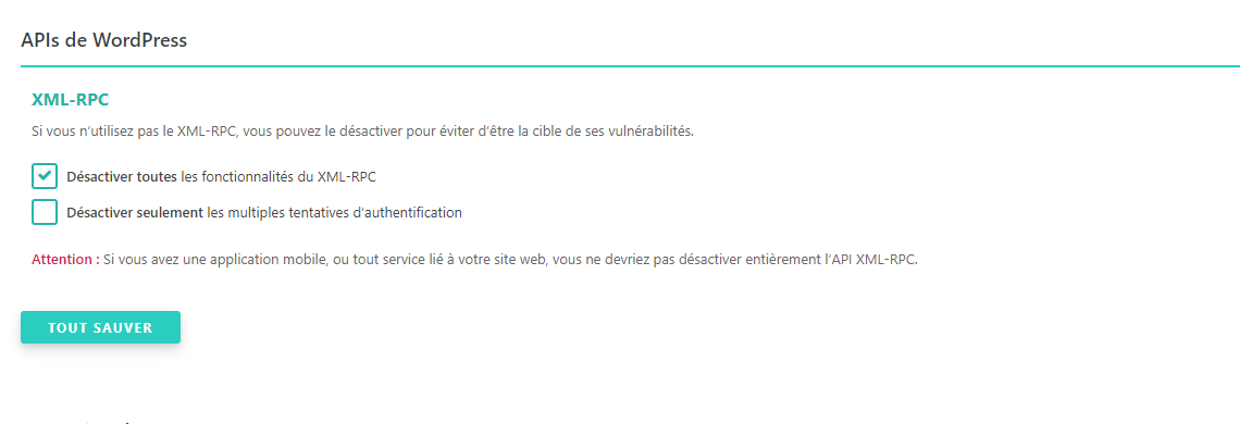 APIs de WordPress SecuPress
