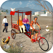 Off Road Public Bicycle Rickshaw Driving Simulator