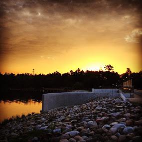 Sunrise at Pine River Dam by Karen Carnahan - Landscapes Sunsets & Sunrises ( structure, minnesota, dam, sunrise, pine river )