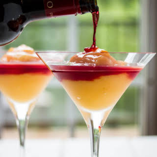 Peach Bellini with Red Wine & Homemade Raspberry Liqueur.