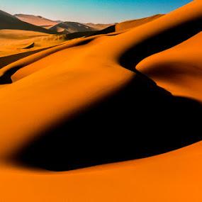 Dune Shapes by Johan Jooste Snr - Landscapes Deserts ( sand, orange, dunes, namib desert, desert, form, shadow, africa, sand-dunes, light, shapes, namibia )