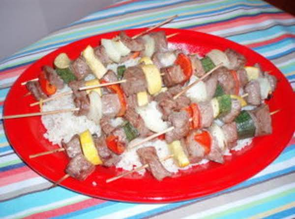 Beef Kabobs Over Lemon Rice Recipe