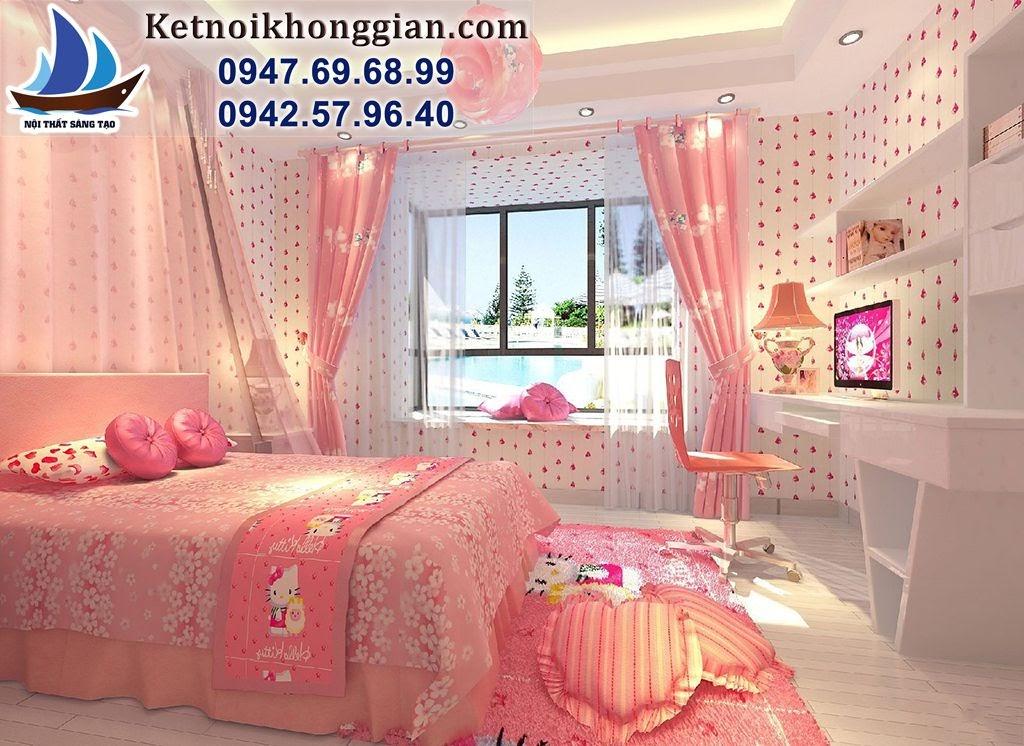 thiết kế phòng ngủ bé gái phong cách tiểu thư