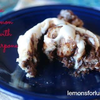 No Yeast Nutella Cinnamon Rolls with Mascarpone Icing.