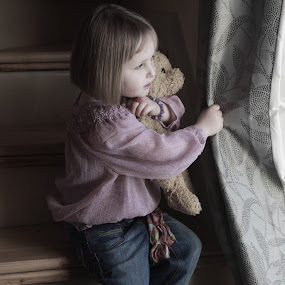 Rowena and Teddy  by Helen Quirke  - Babies & Children Child Portraits ( child, natural light, girl, stairs, rowena, portrait, curtain, teddy,  )