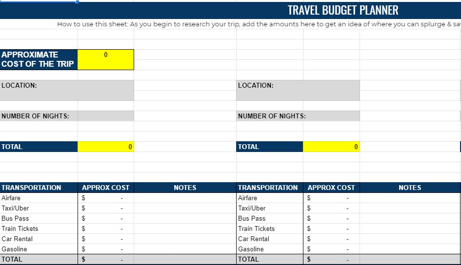 Travel budget planner spreadsheet