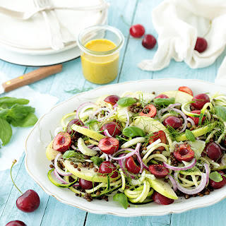 Spiralized Zucchini, Cherry and Lentil Salad