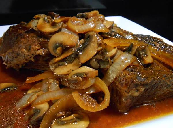 Slow Cooked Roast With Mushrooms, Onions & Au Jus