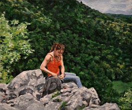 Photo: Miriam, Irati desde el castillo de Arlekia. Óleo sobre tabla