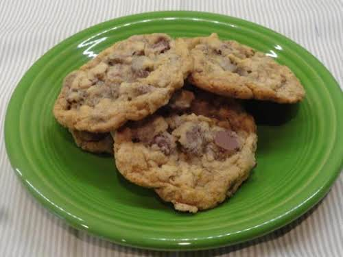 "Chocolate Chip Toffee Oatmeal Kahlua Cookies ""This is one jam packed chocolate..."