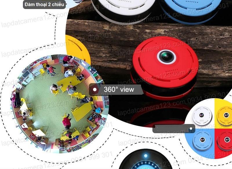 Camera wifi góc nhìn toàn cảnh 360 độ, ống kính fisheye