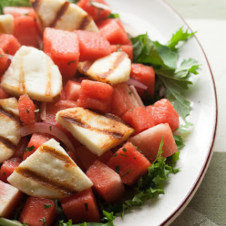 Watermelon Salad with Grilled Halloumi Cheese