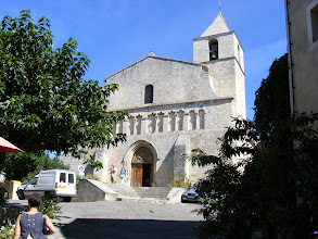 Photo: The town's sturdy 12th century Romanesque church of Notre Dame, also known as Saint Mary of Saignon. As early as the Middle Ages the church was a destination for pilgrims from throughout Provence, but also for those traveling to Rome via the Domitian Way, and for Italian pilgrims going to Santiago de Compostela.