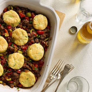 Cuban Beef Casserole with Corn-Scallion Biscuit Topping.