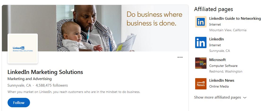 LinkedIn Marketing Solutions LinkedIn page vitrine