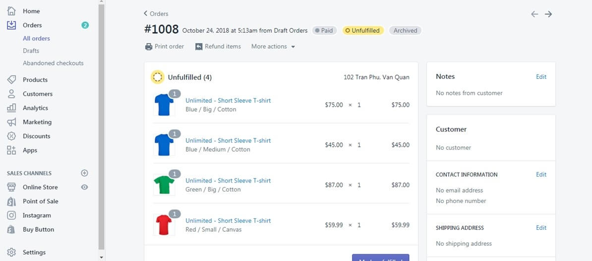 implement Shopify cancel order