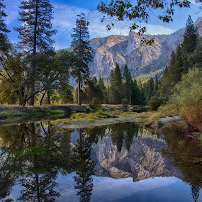 Reflections in Yosemite by David Pilasky - Landscapes Mountains & Hills ( reflection, mountain, waterscape, yosemite national park, landscape )