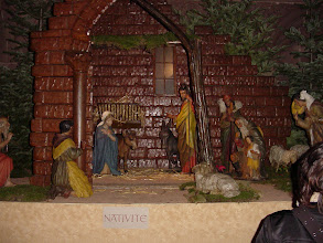 Photo: Now inside the Cathedral, at the large (figures about a foot high) Christmas scene. In the Nativity section, the baby is of course absent, it being only December 10.