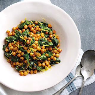 Warm Chickpeas With Spinach And Harissa.