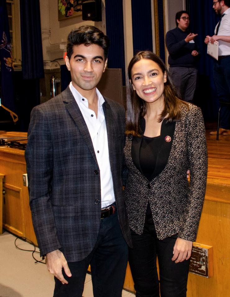 Saad Amer with Representative Alexandria Ocasio-Cortez