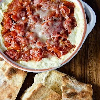 Warm Goat Cheese Dip w/ Artichokes and Roasted Tomatoes