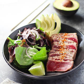 Ahi Tuna Salad with Creamy Wasabi Dressing.