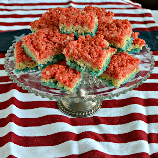 Red, White, and Blue Rice Krispies Treats #SundaySupper.