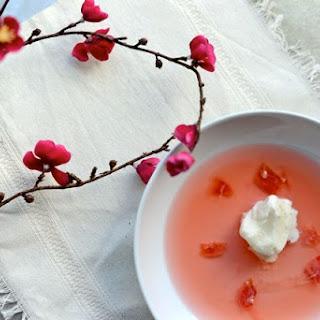 Rhubarb Soup (Rabarbrasuppe) with Yogurt Ice Cream
