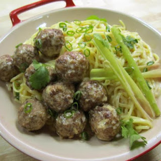Lemongrass-Coconut Noodles with Spicy Chinese Meatballs.