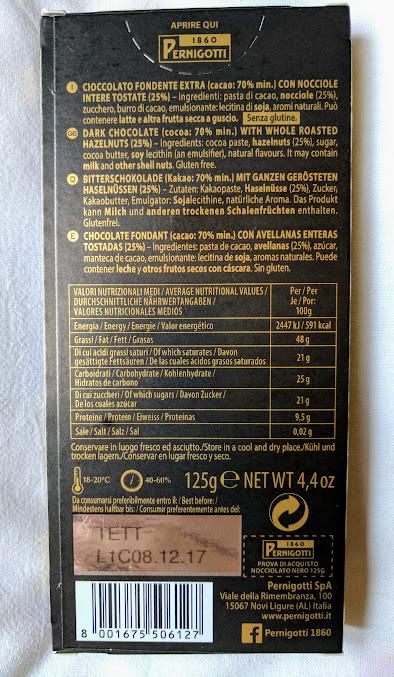 70% pernigotti hazelnuts bar back