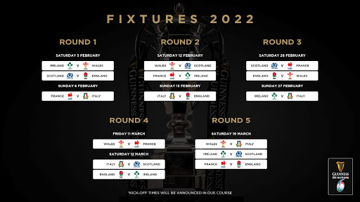 2022 Guinness Six Nations fixtures announced